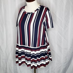 Relaxed Ruffle Tee Navy Burgandy Stripped
